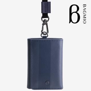 【BAGMIO】三摺式牛皮鈔票卡片夾(午夜藍附織帶)