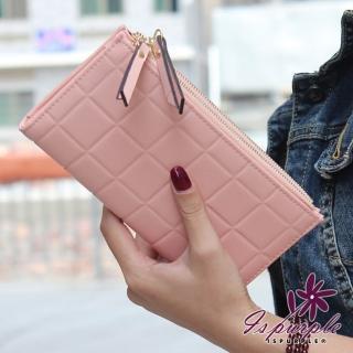 【iSPurple】巧克力塊*對折皮革手拿長夾/粉