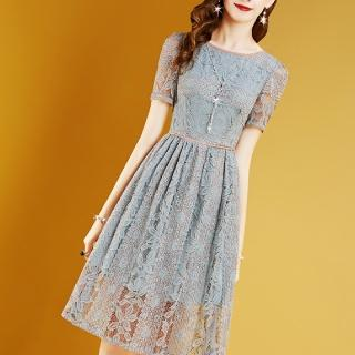 【FQ時尚天后】灰藍鉤花蕾絲透視粉膚滾邊洋裝(S-2XL)
