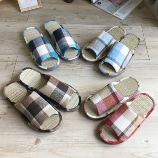 【iSlippers】台灣製造-小日常-真草蓆室內拖鞋(英倫格紋)