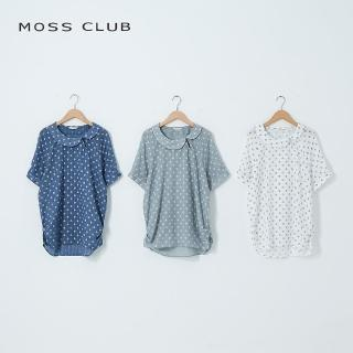 【MOSS CLUB】花瓣領點點女短袖-上衣(三色)