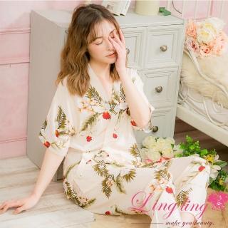 【lingling】PA4014全尺碼-滿版印花綁結側邊開叉短袖二件式睡衣組(質感米杏)