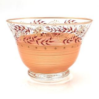 【Madiggan 貝斯麗】托斯卡尼 手工彩繪開運玻璃碗(金紅、金綠可選)