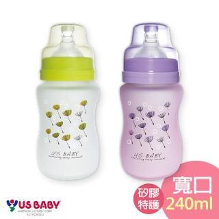 【US BABY 優生】真母感矽膠特護玻璃奶瓶(寬口徑240ml)