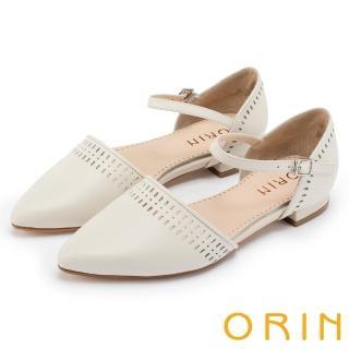 【ORIN】優雅時尚 幾何洞洞繫踝牛皮尖頭低跟鞋(白色)