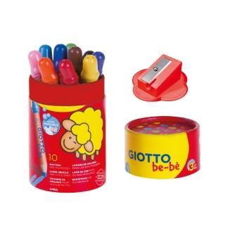 【義大利GIOTTO】可洗式寶寶木質蠟筆10色-筆筒裝