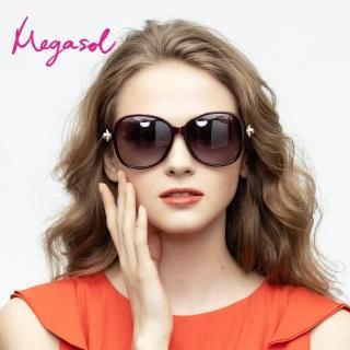 【MEGASOL】UV400防眩偏光太陽眼鏡時尚女仕大框矩方框墨鏡(極美白櫻花水鑽鏡架1921-4色選)