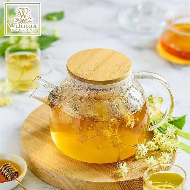 【英國WILMAX】日式茶濾短嘴竹蓋把手耐熱玻璃壺/花茶壼(1500ML)/