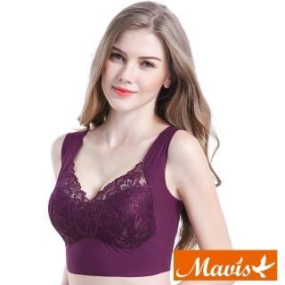 【Mavis 瑪薇絲】精緻蕾絲美胸無痕無鋼圈內衣(紫色)