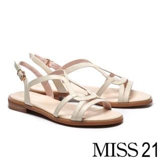 【MISS 21】簡約率性流線造型繫帶牛皮厚底涼鞋(米)