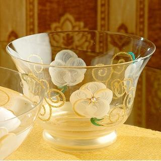 【Madiggan 貝斯麗】玫瑰系列 手工彩繪開運玻璃碗(粉紅.紫色.金色 三色可選)