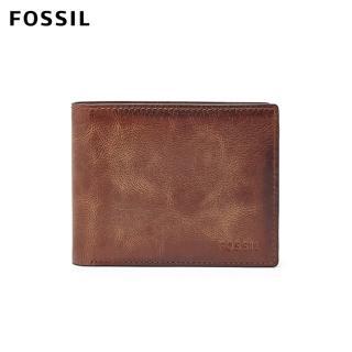 【FOSSIL】Derrick 棕色真皮帶翻轉證件格RFID皮夾 男ML3681200