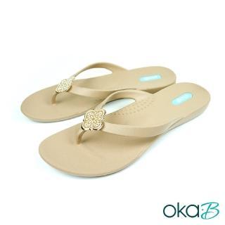 【oka-B】Jessa幾何圖騰配飾人字夾腳涼拖鞋(卡其色 K911JE-BR)