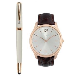 【ARTEX】ARTEX 雅致觸控鋼珠筆玫瑰金白+5605真皮手錶-褐/ 玫瑰金43mm
