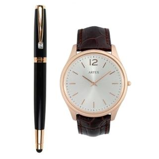 【ARTEX】ARTEX 雅致觸控鋼珠筆玫瑰金黑+5605真皮手錶-褐/玫瑰金43mm