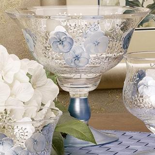 【Madiggan 貝斯麗】鬱金香系列 手工彩繪玻璃高架碗(藍色.紫紅 雙色可選)