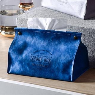 【收納職人】原創北歐ins風皮革面紙盒/收納袋(藍色)