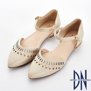 【DN】法式浪漫 真皮電雕尖頭瑪莉珍跟鞋(卡其)