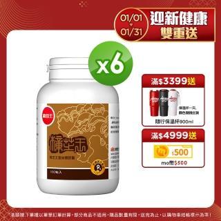 【葡萄王】樟芝王100粒x6瓶 共600粒(樟芝多醣9%補精力有活力)