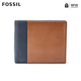 【FOSSIL】Ward 海軍藍色真皮RFID零錢包短夾 男ML3919400