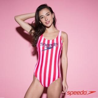 【SPEEDO】女 Ice Cream 運動連身泳裝(粉紅條紋)