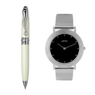 【ARTEX】ARTEX 方晶隨行白管+8204不鏽鋼手錶-米蘭錶帶/銀36mm