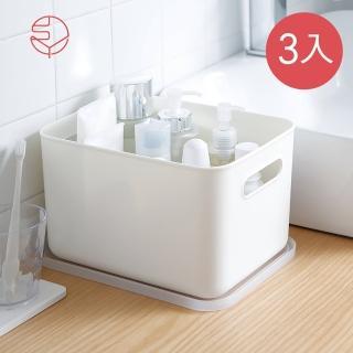 【日本霜山】無印風霧面附蓋把手收納盒-L-3入