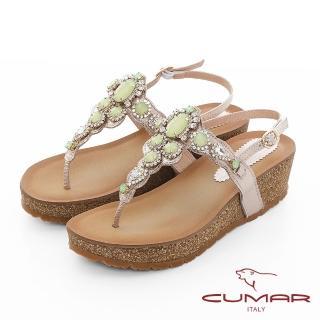 【CUMAR】情迷哈瓦那 -華麗大寶石波西米亞風格厚底台夾腳涼鞋(金)