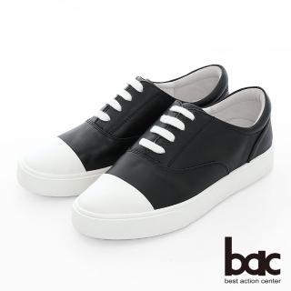 【bac】週末輕旅行 - 撞色拼接綁帶街頭風平底休閒鞋(黑)