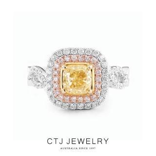 【CTJ】1克拉豐華黃彩鑽18K金戒指(Fancy light yellow)