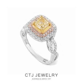 【CTJ】1克拉奢華黃彩鑽18K金戒指(Fancy yellow)