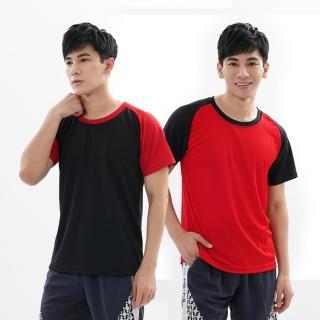 【遊遍天下】MIT中性款吸濕排汗抗UV機能圓領衫GS2001紅黑(M-3L)