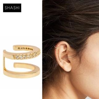 【SHASHI】鑲鑽C型雙層耳骨夾 無耳洞女孩必備 JADE PAVE EAR CUFF(耳骨夾)