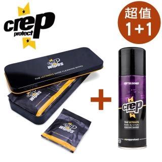 【Crep Protect】隨身愛鞋快速清潔濕紙巾+奈米科技抗污防水噴霧(防水清潔 超值1+1)
