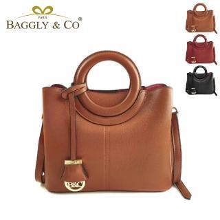 【BAGGLY&CO】質感真皮荔枝紋手工圓形提把側背包(三色)