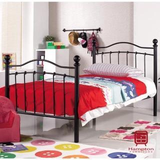 【Hampton 漢汀堡】羅倫系列3.5尺黑色鐵床床架(黑色鐵床床架/鐵床架/單人床/單人床架)
