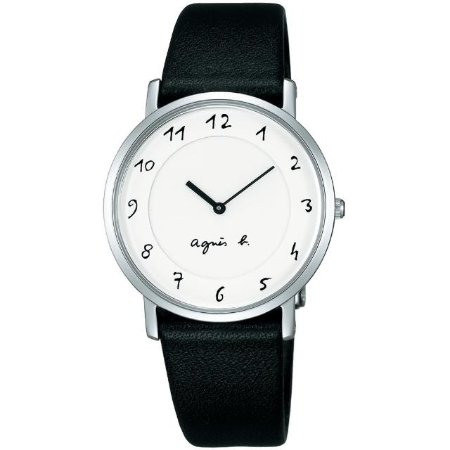 【agnes b.】法式手繪風格時尚腕錶-33mm/白x黑(7N00-0BC0S/BG4001P1)