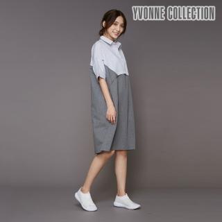 【Yvonne Collection】襯衫領拼接短袖洋裝(鐵灰)