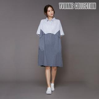 【Yvonne Collection】襯衫領拼接短袖洋裝(丈青)