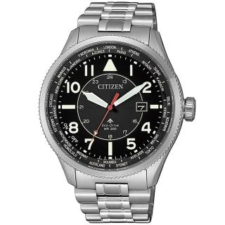 【CITIZEN 星辰】PROMASTER 光動能萬年曆手錶-44mm/黑x銀(BX1010-53E)