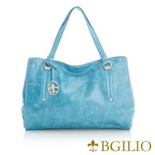 【義大利BGilio】蠟感牛皮經典都會肩背包-海洋藍(2111.001A-09)