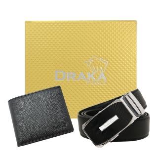 【DRAKA 達卡】黃金禮盒 真皮皮夾+自動皮帶-7307(41DK851-7307)