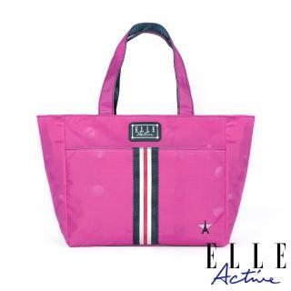 【ELLE active】經典復刻系列-托特包/購物袋/手提袋-小-桃紅色