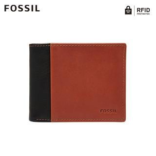 【FOSSIL】Ward 黑色真皮帶翻轉證件格RFID皮夾 男ML3918001