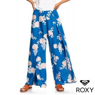 【ROXY】ADVENTURE PANT(絲質印花側開衩長褲 藍)