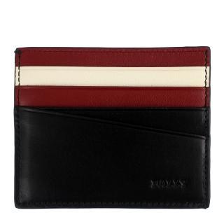 【BALLY】品牌壓印經典紅白條紋咖啡色名片夾(咖啡/八卡)