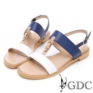 【GDC】小歐洲奧戴莉真皮拼接一字中跟涼鞋-白色(913365)