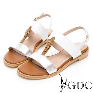 【GDC】小歐洲奧戴莉真皮拼接一字中跟涼鞋-銀色(913365)