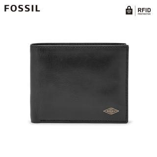 【FOSSIL】Ryan 黑色真皮實用RFID皮夾 男ML3829001
