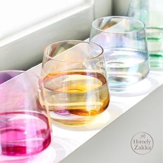 【Homely Zakka】創意炫彩玻璃杯/酒杯/果汁杯360ml(炫彩黃)